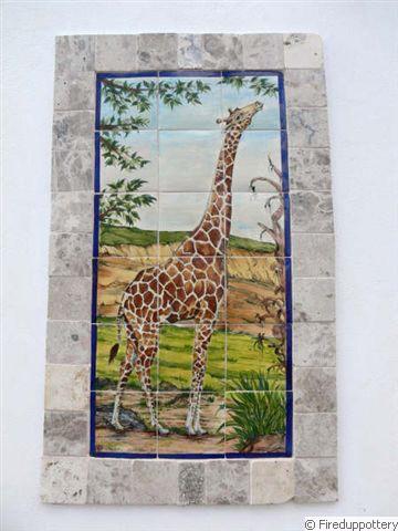 Giraffe framed with travertine
