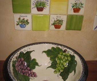 Grapes Washbasin & Tile Combination