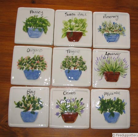 Hand Painted Tiles - Herbs